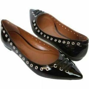 COACH Valerie Black Patent Leather Grommet Flat